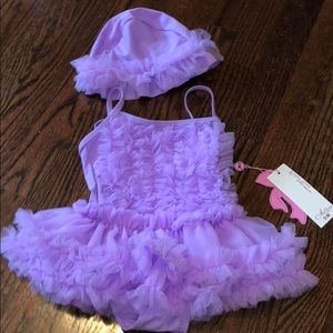 Other - NWT Babygirl purple tutu swimsuit and hat
